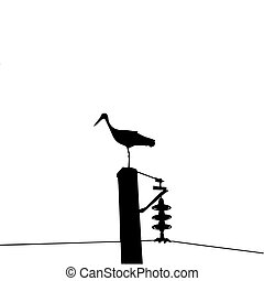 vector silhouette of the crane isolated on white background...