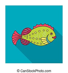 Sea fish icon in flat style isolated on white background. Sea animals symbol stock vector illustration.