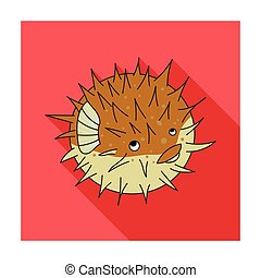 Porcupine fish icon in flat style isolated on white...