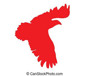 silhouette of the ravenous bird on white background