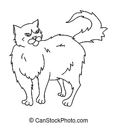Persian icon in outline style isolated on white background. Cat breeds symbol stock vector illustration.