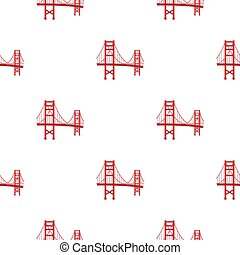 Golden Gate Bridge icon in cartoon style isolated on white background. USA country pattern stock vector illustration.