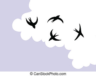 drawing swallow flying to sky