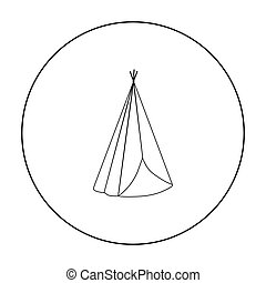 Wigwam icon outline. Singe western icon from the wild west...