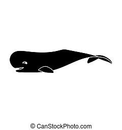 Sperm whale icon in black style isolated on white...