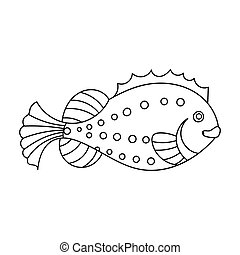 Sea fish icon in outline style isolated on white background. Sea animals symbol stock vector illustration.