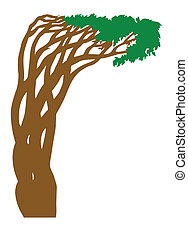 silhouette abstract tree on white background