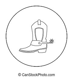 Cowboy boot icon outline. Singe western icon from the wild west outline.