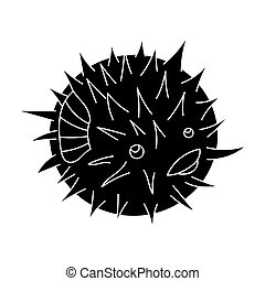 Porcupine fish icon in black style isolated on white...