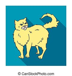 Persian icon in flat style isolated on white background. Cat breeds symbol stock vector illustration.