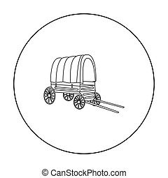 Cowboy wagon icon outline. Singe western icon from the wild...