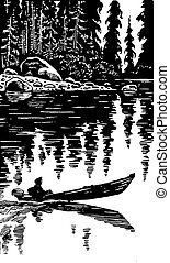 illustration of the person  on boat