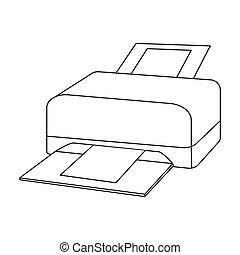 estilo, impresora, computadora, contorno, icono, personal,...