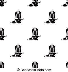 Cowboy boot icon in black style isolated on white background. Wlid west pattern stock vector illustration.