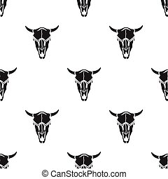 Bull skull icon in black style isolated on white background....
