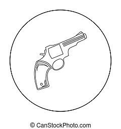 Revolver icon outline. Singe western icon from the wild west...