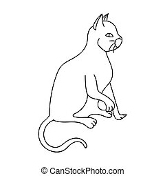 American Shorthair icon in outline style isolated on white...