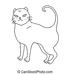 British Shorthair icon in outline style isolated on white...