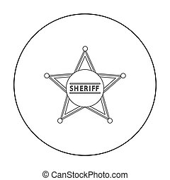 Sheriff icon outline. Singe western icon from the wild west outline.