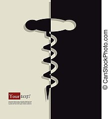 Corkscrew - Card with Corkscrew, vector with depth
