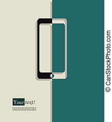 Cell phone - Card with cell phone, vector with depth