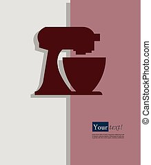 Food processor red - Card with food processor, vector with...