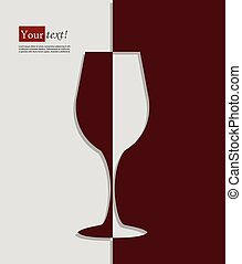 Wine glass - Card with wine glass, vector with depth