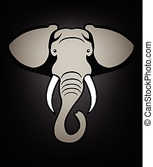 Elephant head black - elephant head close-up, vector...