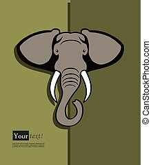 Elephant head - Card with elephant head, vector with depth