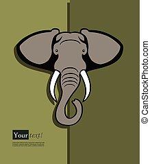 Elephant head - Card with elephant head, vector with depth