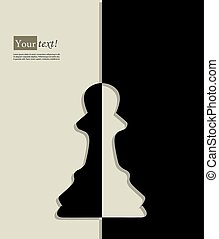 Pawn chess - Card with pawn, chess figure, vector with depth