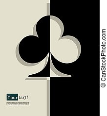 Clubs - Card with clubs symbol, vector with depth
