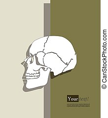 Human skull - Card with human skull, vector with depth