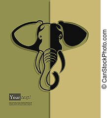 Elephant head silhouette - Card with elephant head...