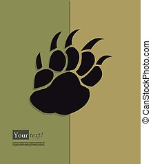 Pawn - Card with paw mark, vector with depth