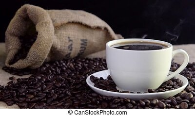 fresh steaming coffeein cup - fresh steaming coffeein white...