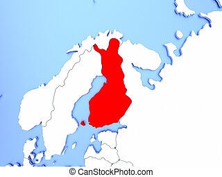 Finland in red on map - Map of Finland highlighted in red on...