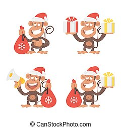 Monkey and New Year - Vector Illustration, Monkey and New...