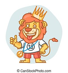 Lion Showing Thumbs Up and Smiling