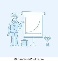 Elderly businessman points on flip chart