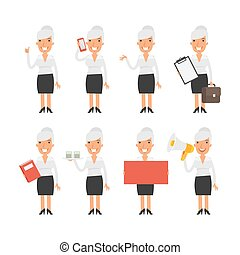 Old business woman in different poses