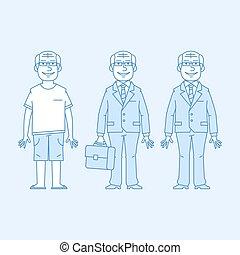 Elderly businessman in different versions
