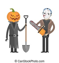 Characters Pumpkin and maniac killer - Illustration,...