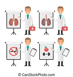 Doctor therapist points to flip chart - Vector Illustration,...