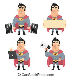 Superhero holds various objects