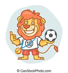 Lion Holds Ball and Showing Thumbs Up
