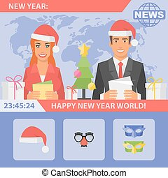 Reporters and New Year - Vector Illustration, Reporters and...