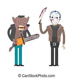 Characters werewolf and maniac killer - Illustration,...