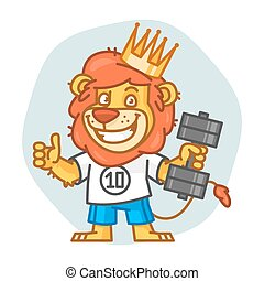 Lion Holds Dumbbell and Showing Thumbs Up