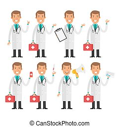 Doctor therapist in different poses - Vector Illustration,...